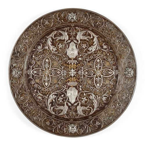 Gold and silver inlaid arabesque damascened plate