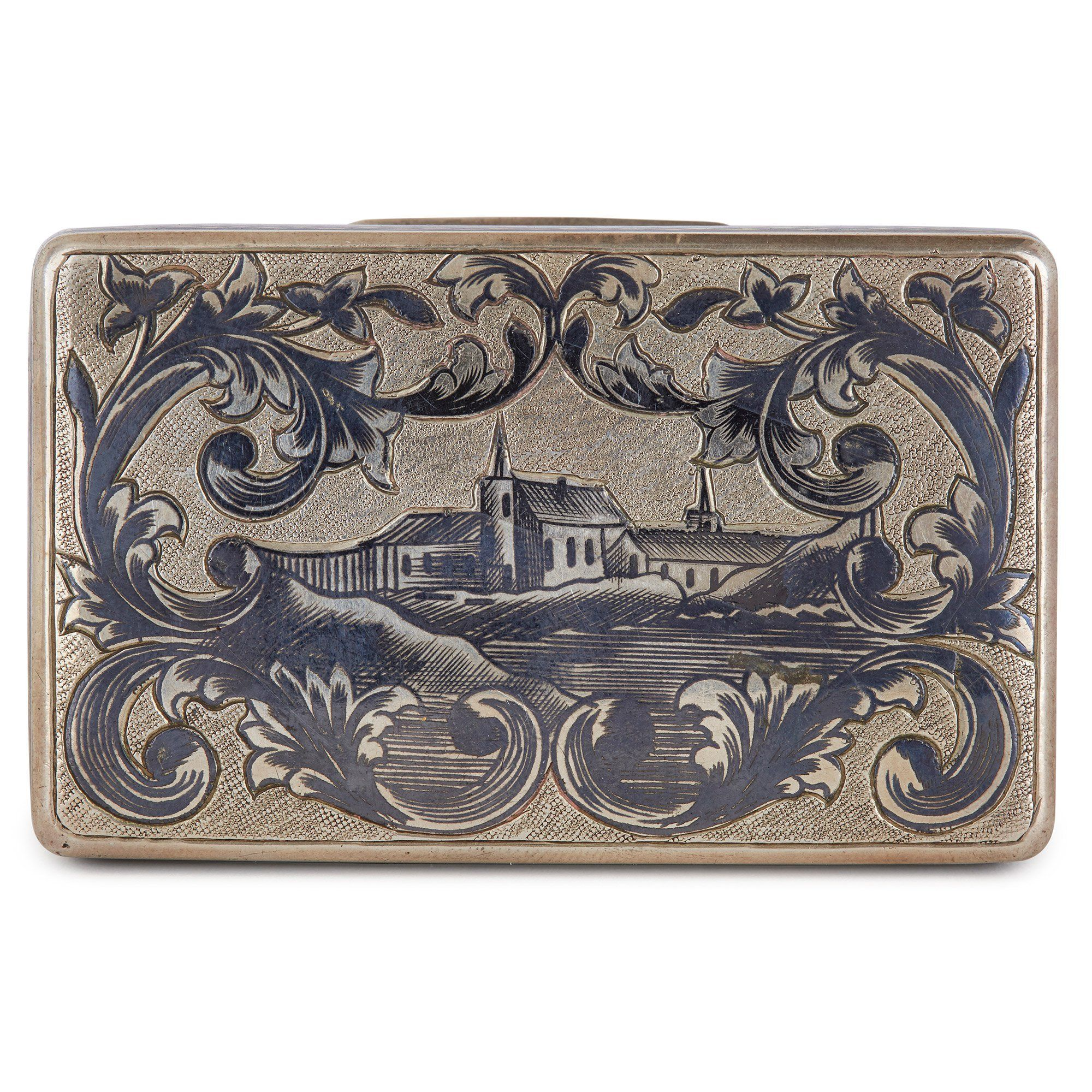 Russian Silver Niello Rectangular Snuff Box With Hinged