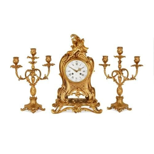 Louis XVI style ormolu three piece clock set by Barbedienne