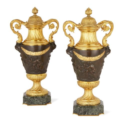 Pair of French marble, gilt and patinated bronze vases