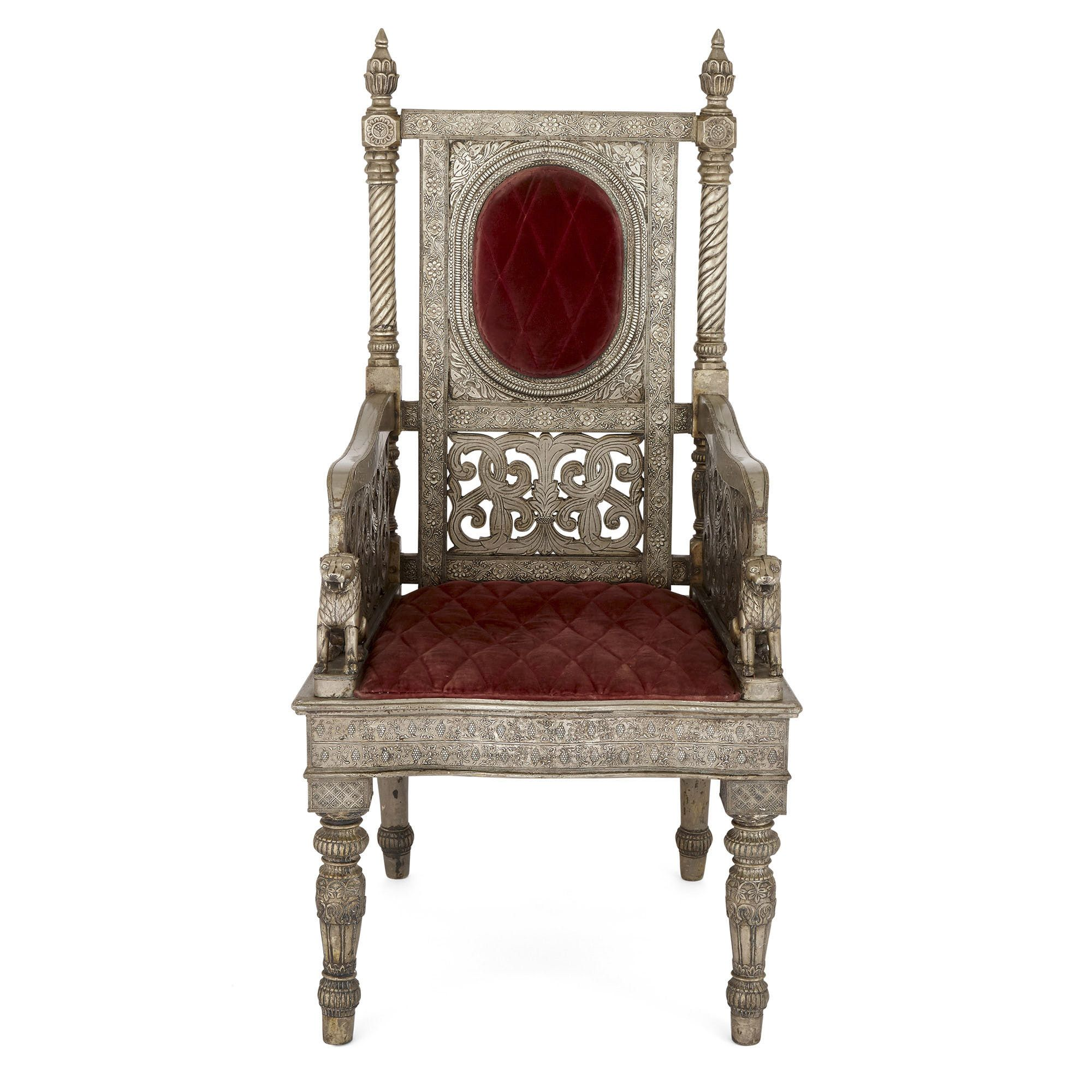 Indian Silvered Metal Throne Chair With Velvet Upholstery Mayfair Gallery