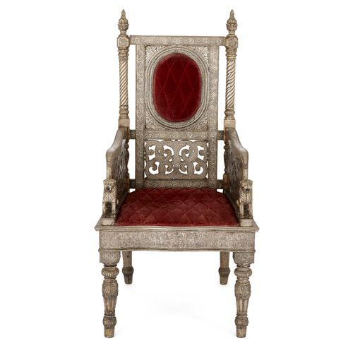 Indian silvered metal throne chair with velvet upholstery