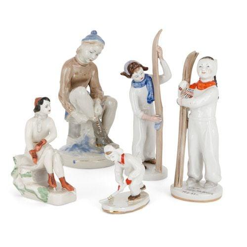 Set of Russian porcelain Lomonosov figurines