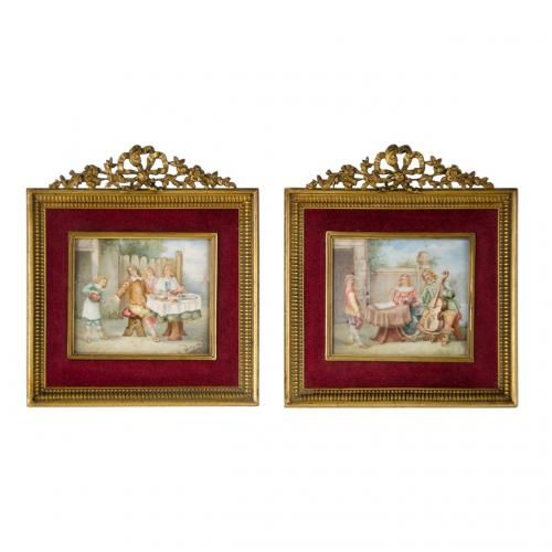 A pair of miniature paintings on ivory