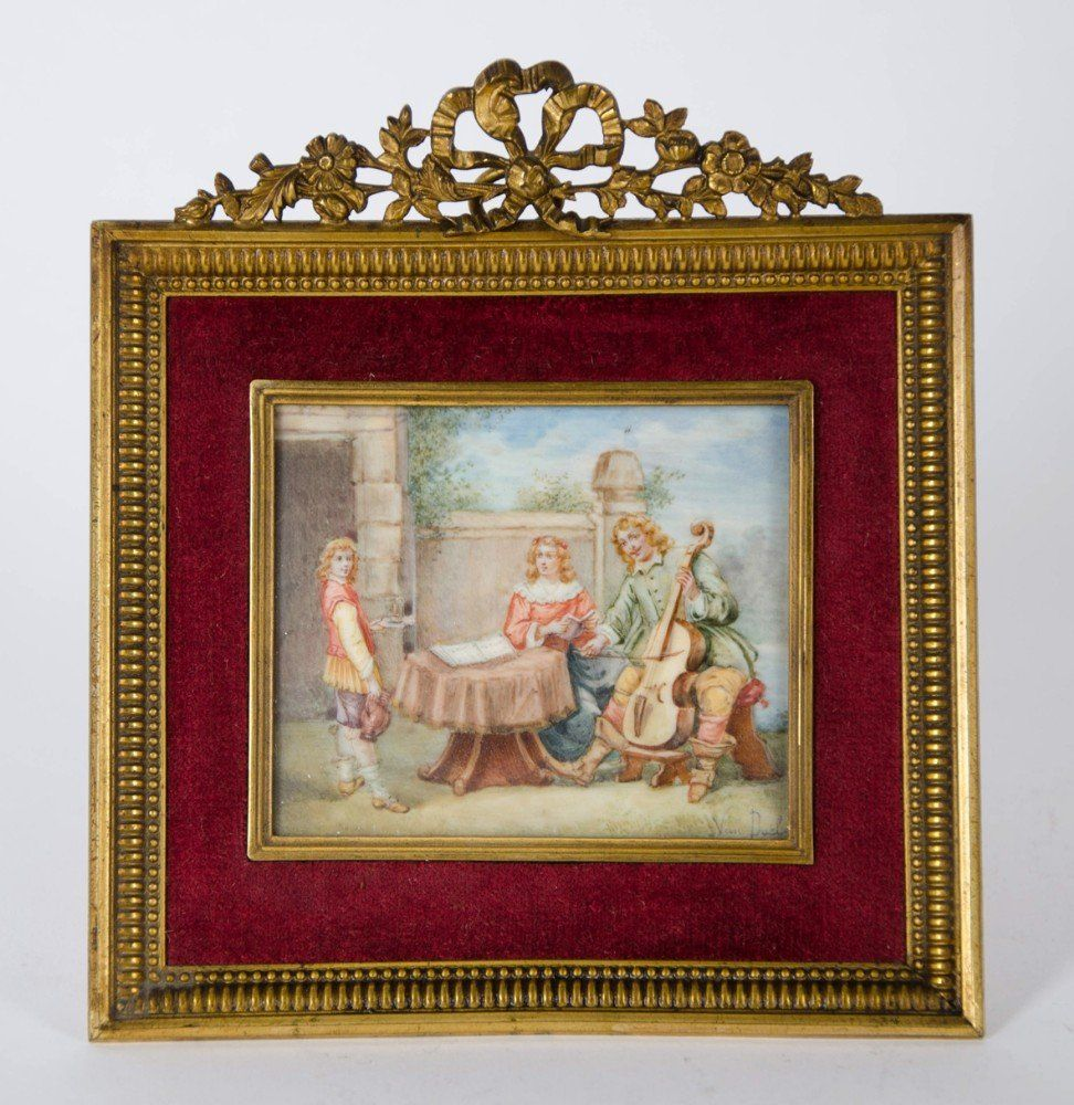 Pair Of Antique Miniature Paintings On Ivory Mayfair Gallery