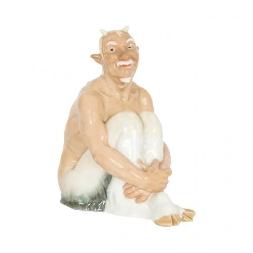 A Meissen porcelain figure of a satyr