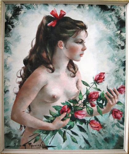 A painting of a semi nude young woman with roses by Igor Talwinksi