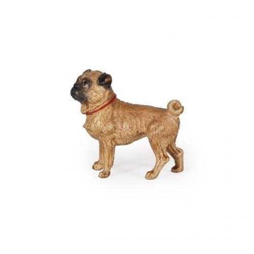 A miniature cold painted bronze model of a pug dog