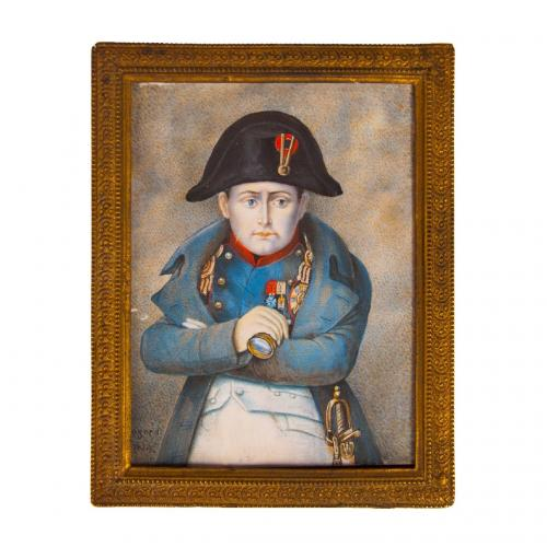 A miniature portrait of Napoleon painted on ivory