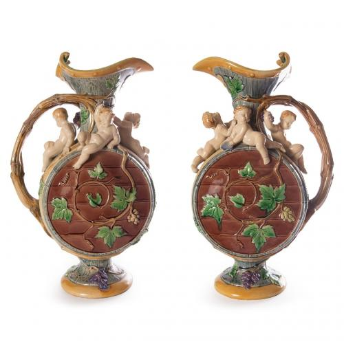 A matched pair of Minton majolica 'Protat' ewers