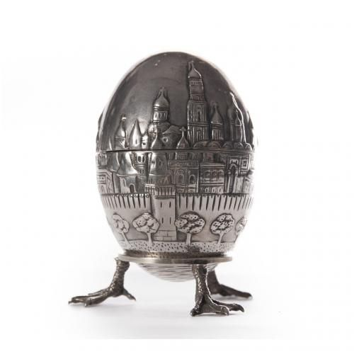 A Russian silver model of an egg