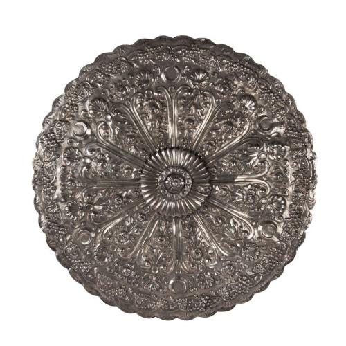 A fine and large Ottoman period silver repousse backed mirror