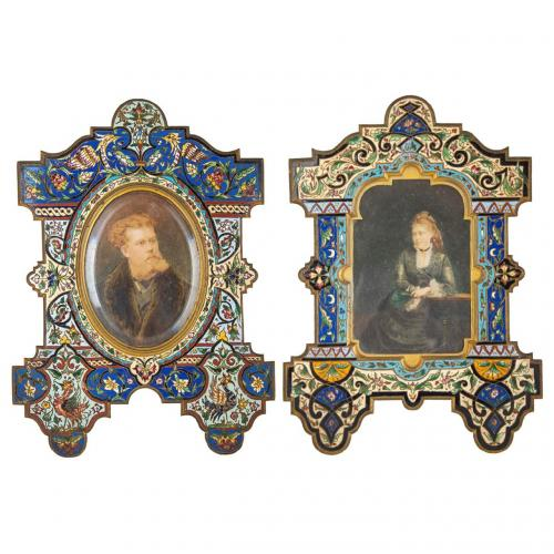 A near pair of champlevé enamel and ormolu photograph frames