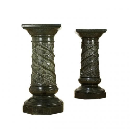 A pair of very large and fine green marble pedestals