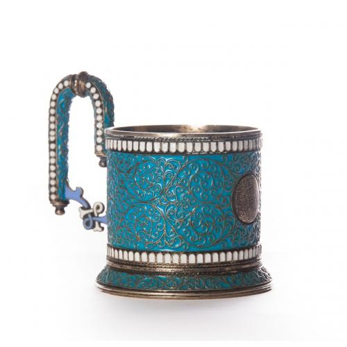 A silver gilt and cloisonne enamel tea-glass holder by Ivan Saltykov, Moscow