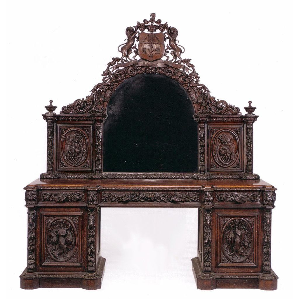 Victorian Period Carved Oak Antique Sideboard With Mirror