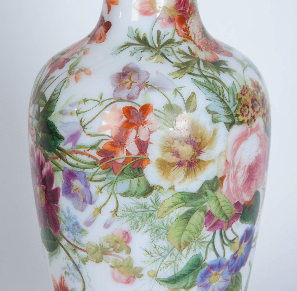 Painted Opaline Antique Glass Vase By Baccarat Mayfair Gallery