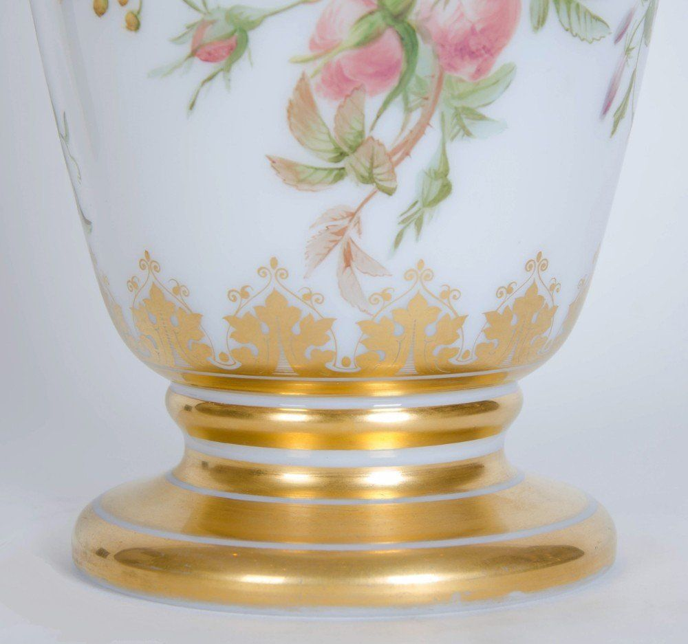 Painted Opaline Antique Glass Vase By Baccarat Mayfair