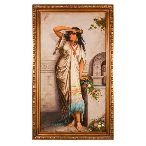 An Orientalist painting of a young woman with flowers
