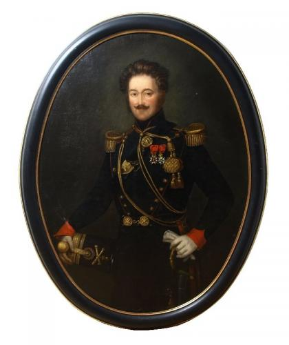 Portrait painting of a French Artillery Officer in Military Dress