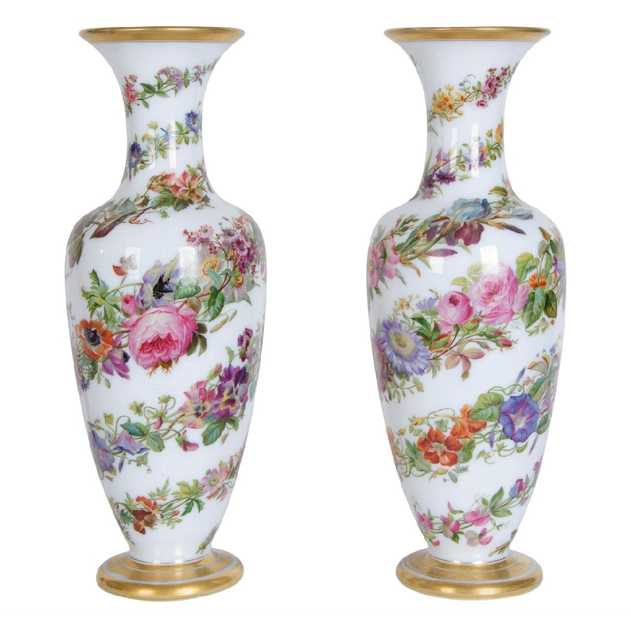 Pair Of Parcel Gilt Opaline Antique Glass Vases By Baccarat Mayfair Gallery
