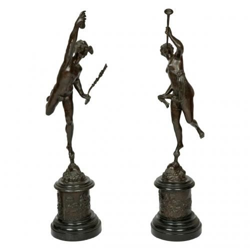 A pair of bronze figures of Mercury and Fortuna, after Giambologna (1529-1608)