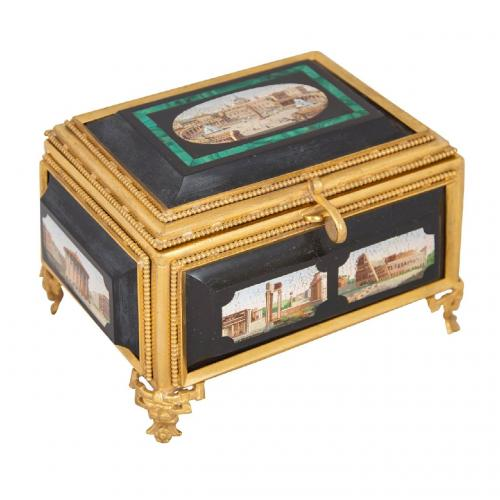 A fine rectangular ormolu, malachite, marble and micromosaic casket