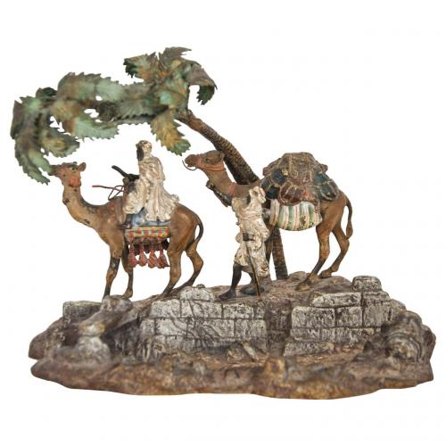 An Orientalist Viennese cold painted bronze group by Bergman