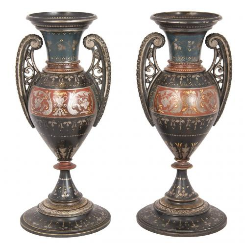 A pair of silver and gold inlaid damascened brass vases