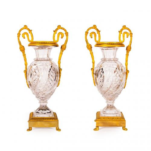 A pair of ormolu mounted crystal glass vases