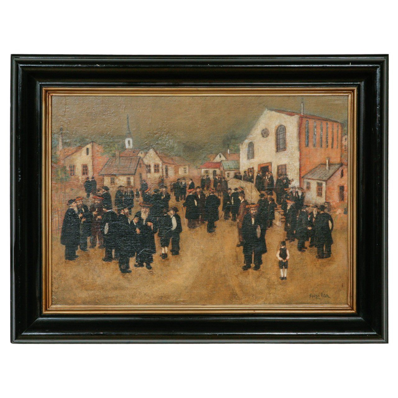 Antique Oil Painting Of A Jewish Street Scene By E Gyori