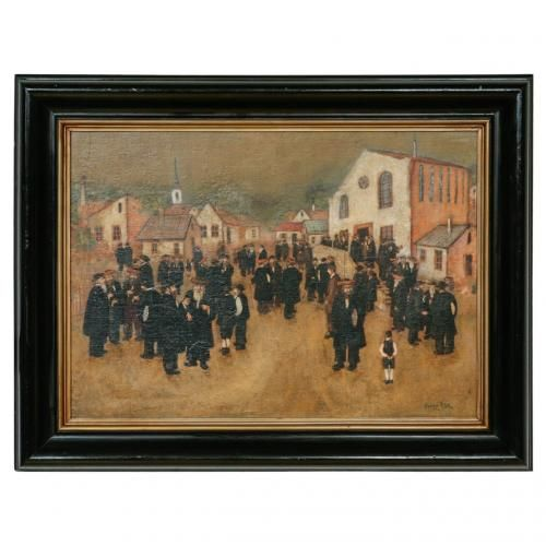 Antique oil painting of a Jewish street scene by E. Gyori