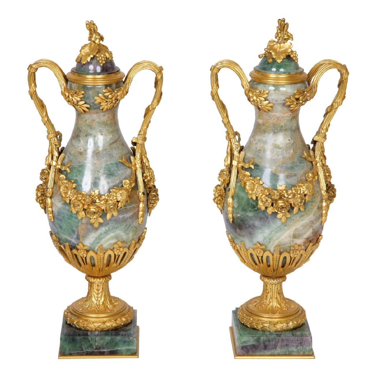 Pair Of Ormolu Mounted Fluorspar Antique French Vases