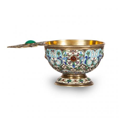 A silver gilt and cloisonne enamel charka