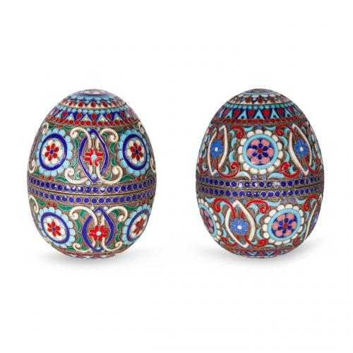 A pair of silver gilt and cloisonne enamel eggs
