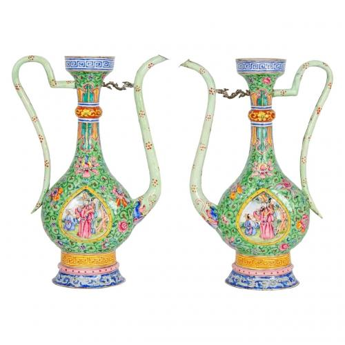 A fine pair of Persian style Canton enamel jugs