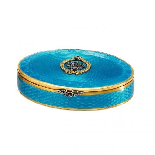 A St. Petersburg silver gilt and guilloche turquoise enamel pill box