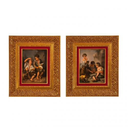 A pair of KPM porcelain plaques after Murillo