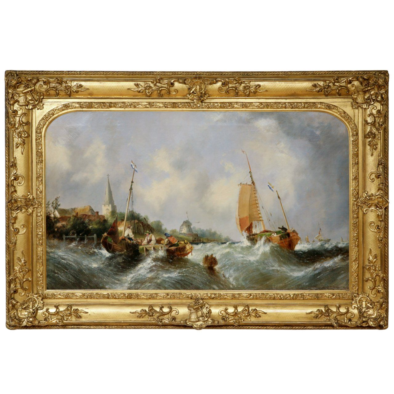 Antique Oil Painting Of A Maritime Seascape By W C Knell