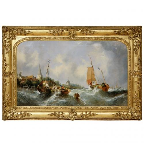 A large Maritime seascape by William Callcott Knell (British, 1830-1876)