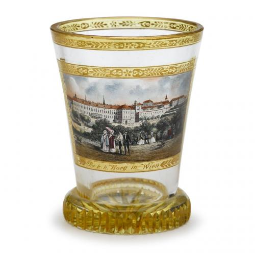 A fine topographical transparent enamelled glass beaker