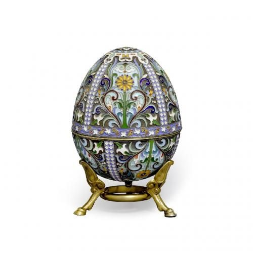 A large Russian silver gilt and cloisonne enamel Easter egg