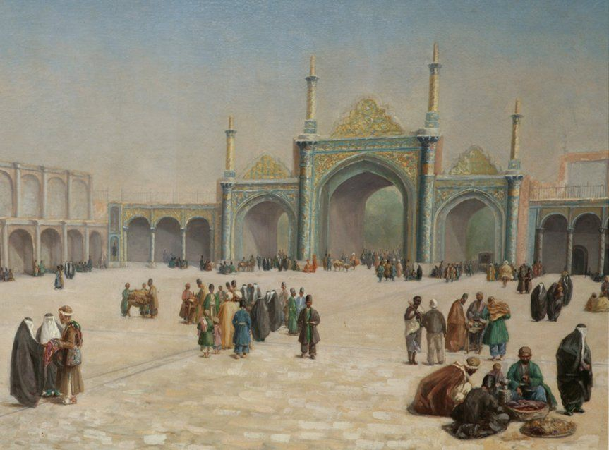 Painting of the courtyard of an ottoman palace by l denis for Santa ottoman hotel