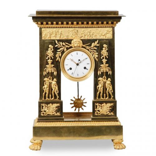 A large and important Empire period ormolu mantel clock by Deverberie