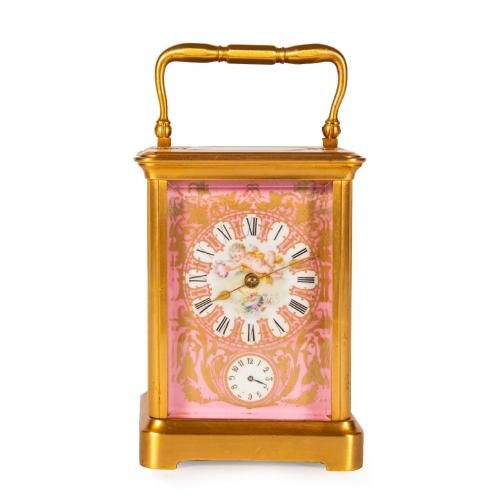 A Sevres style porcelain mounted ormolu carriage clock