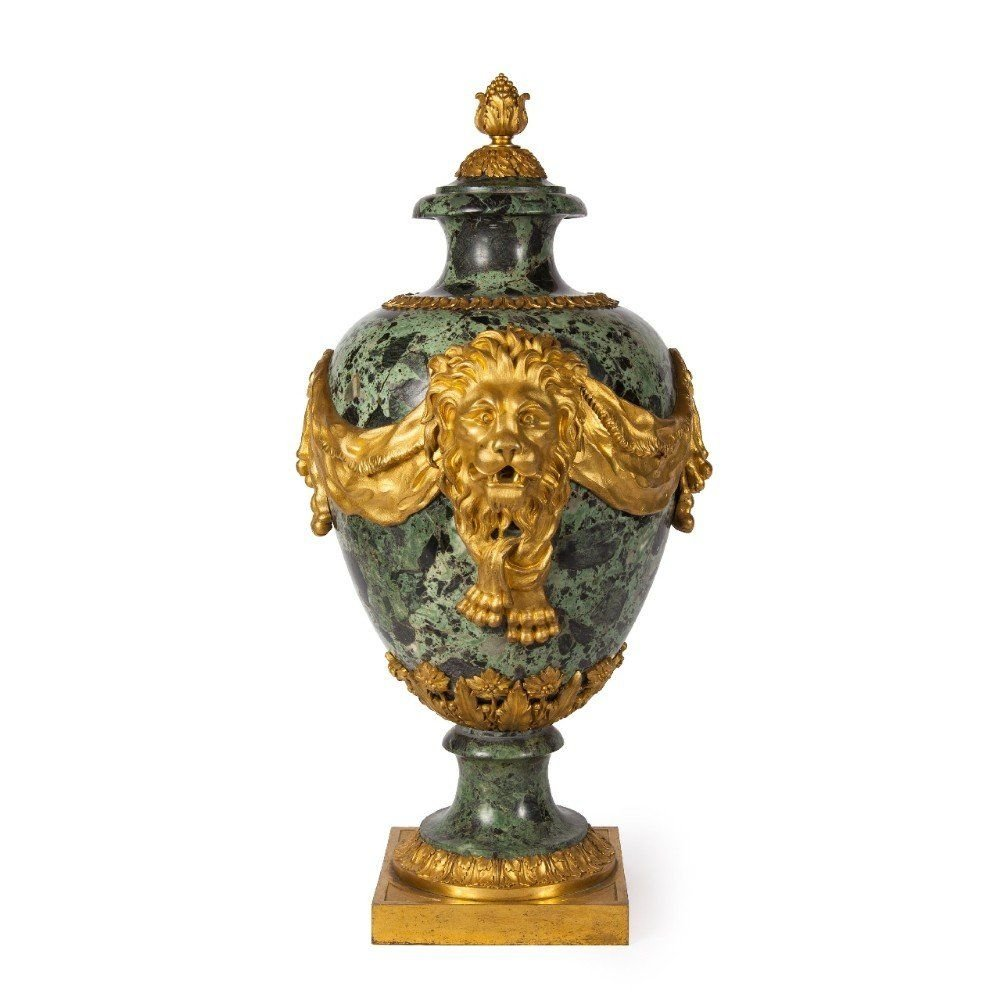 Ormolu Mounted Green Marble Antique French Vase Mayfair