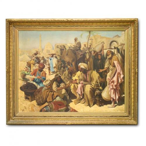 Market Place Outside the Gates of Cairo by S. Weiner
