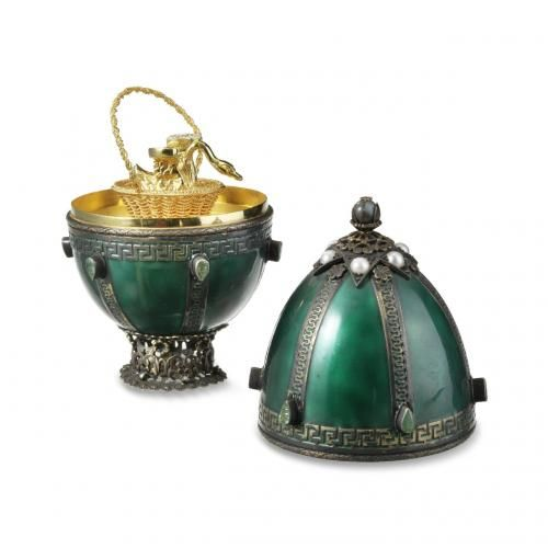 A precious stone mounted enamel, silver and silver gilt Easter egg