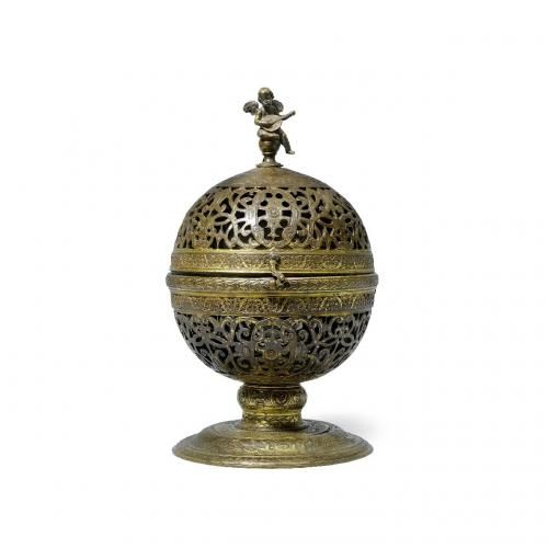 A parcel gilt pierced brass incense burner
