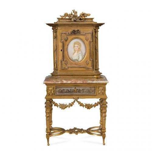 A miniature Louis XVI style ormolu and marble cabinet on stand